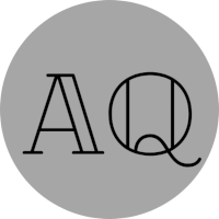 Grey circle with letters AQ. Editorial testimonial.
